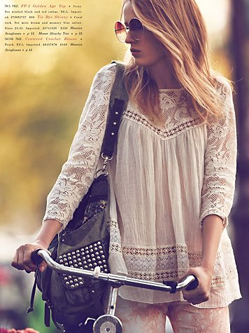 biker bippie from free people girls on bike january catalog
