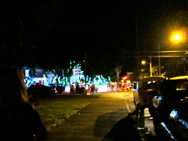 Christmas lights down the street