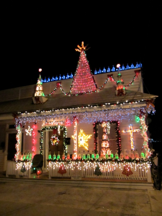 house decorated with vodka bottles