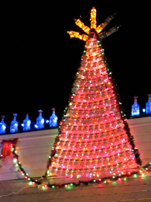 Christmas tree of vodka bottles