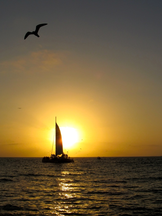 sunset with sailboat in key west