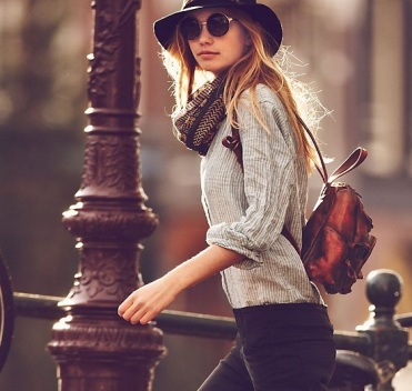 wide brimmed hat from free people girls on bike january catalog