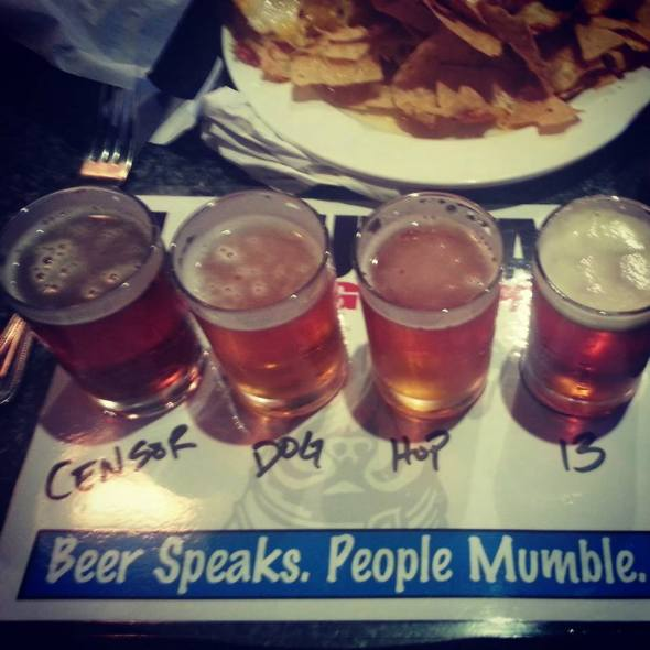 Flight of beer tasters at Lagunitas