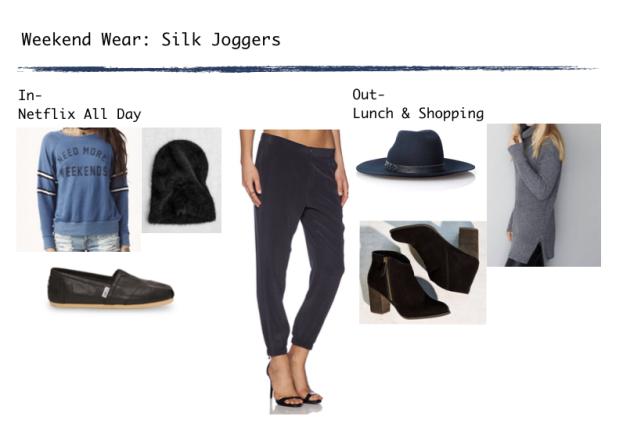 black silk joggers
